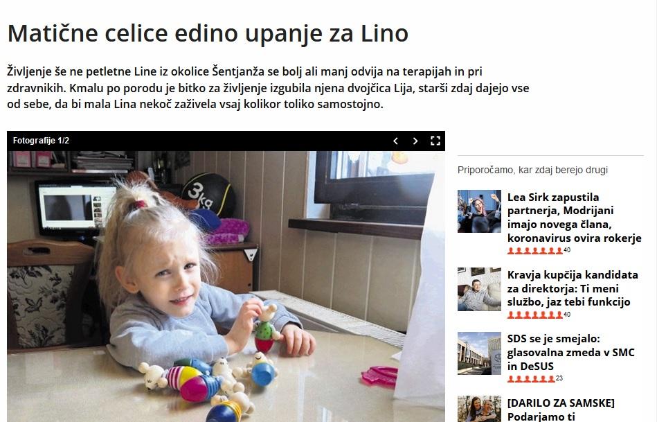 Lina v časopisu Dnevnik